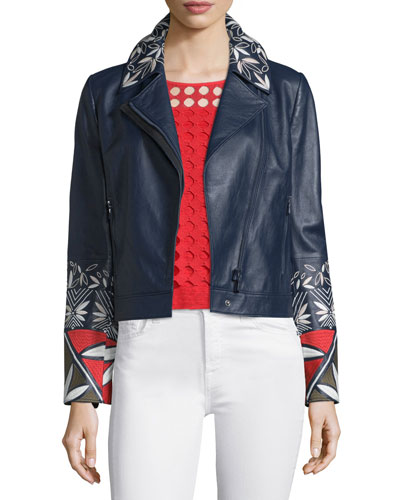 Pottery-Embroidered Leather Moto Jacket, Tory Navy