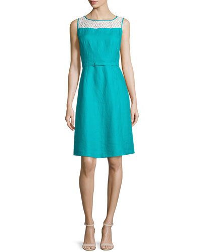 Hepburn Eyelet-Yoke Sleeveless Dress, Splash