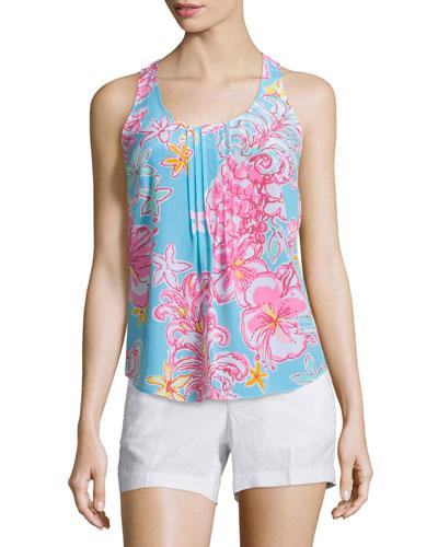 Dahlia Sleeveless Pleated Floral-Print Top