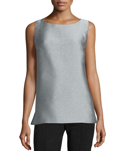 Josa Sleeveless Round-Neck Blouse, Silver