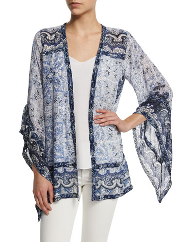 Amantha Open-Front Printed Jacket, Coconut