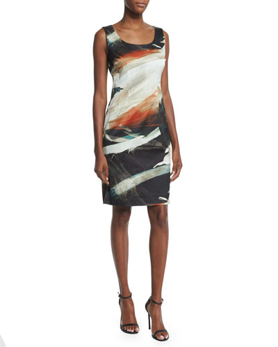 Rebecca Printed Sleeveless Sheath Dress, Sedona/Multi
