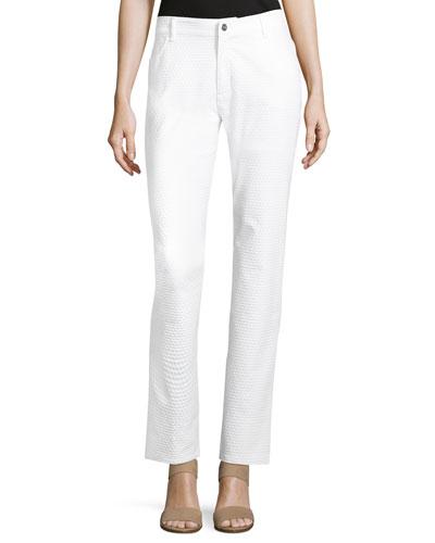 Curvy Slim-Leg Textured Jeans, White