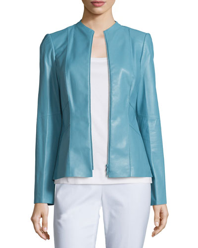 Denise Lambskin Leather Zip-Front Jacket