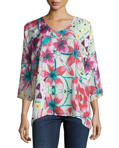 Barra 3/4-Sleeve Floral-Print Blouse, Plus Size