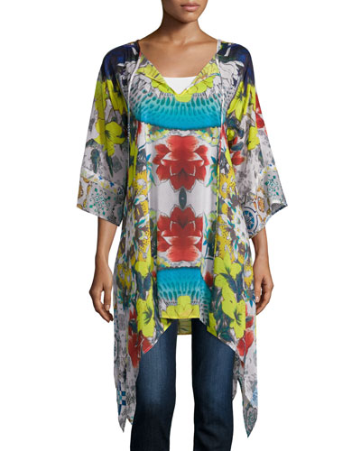 Flash Tie 3/4-Sleeve Printed Tunic, Pop Color, Plus Size