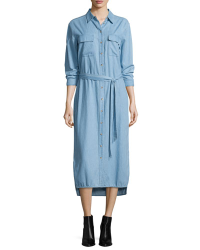 Delany Button-Front Belted Shirtdress, Sky Blue