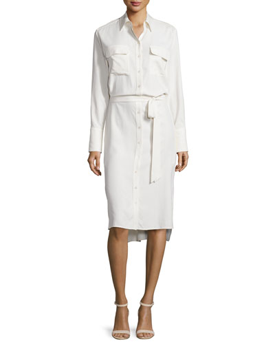 Delany Button-Front Shirtdress, White