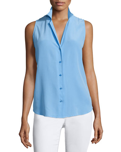 Adalyn Button-Front Sleeveless Blouse, Blue