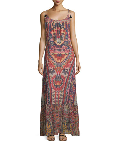 Koko Ikat-Print Tie-Shoulder Maxi Dress, Red Lotus