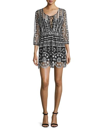 Fortune 3/4-Sleeve Babydoll Dress, Starlight