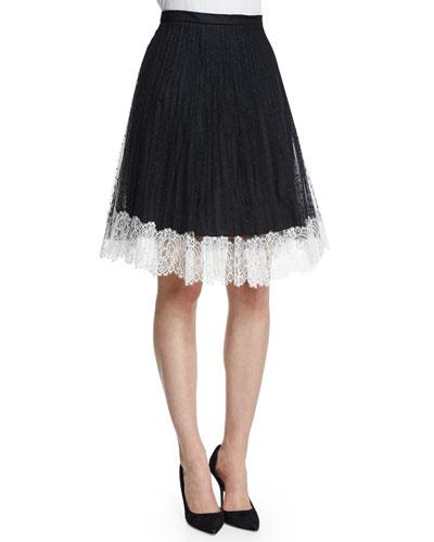 Lace Full Skirt W/Contrast Hem, Black