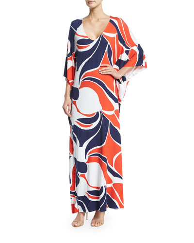 Tillie 3/4-Sleeve Printed Maxi Dress, Mod Print, Plus Size