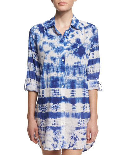 Tie-Dye Long-Sleeve Shirtdress Coverup