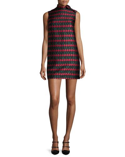 Sleeveless Cherry-Print Shift Dress, Black