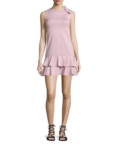 Ruffled Dress W/Side-Bow Detail, Lilac