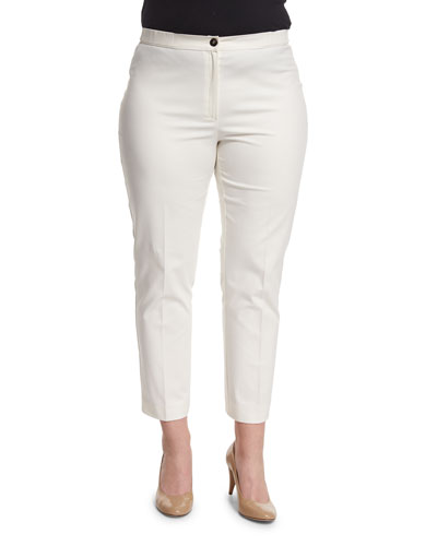 Renoir Cotton Long Pants, White, Plus Size