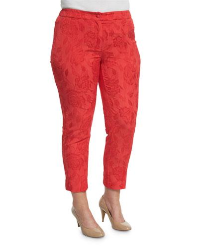 Floral Jacquard Ankle-Cropped Pants, Plus Size