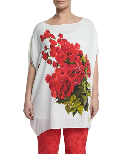 Large Flower Long Blouse, Plus Size