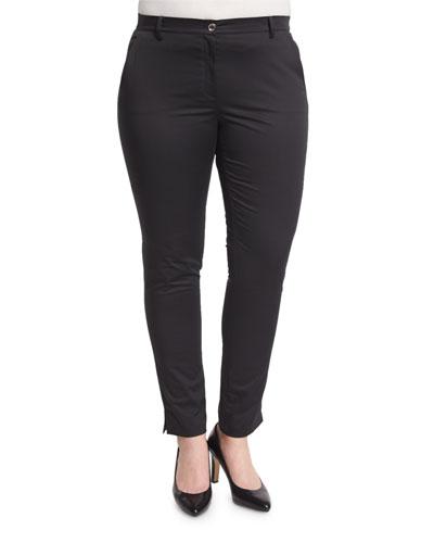 Renzo Low-Rise Super Slim Pants, Black, Plus Size