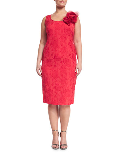 Dylan Sleeveless Floral Jacquard Sheath Dress, Plus Size