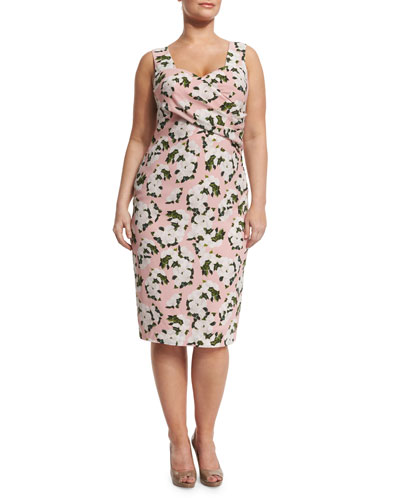 Depliant Sleeveless Flower-Print Sheath Dress, Plus Size
