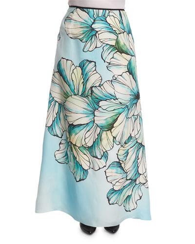Clacson Long Flower-Print A-line Skirt, Plus Size