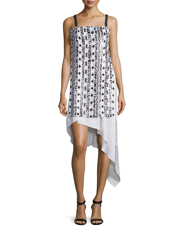 Sleeveless Bohemian Sequin Dress, White/Copper