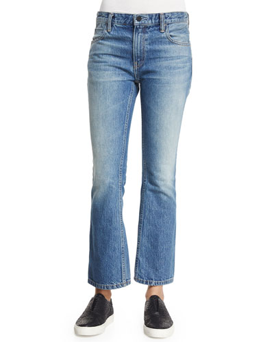 Trap Cropped Boot-Cut Jeans, Light Indigo Aged