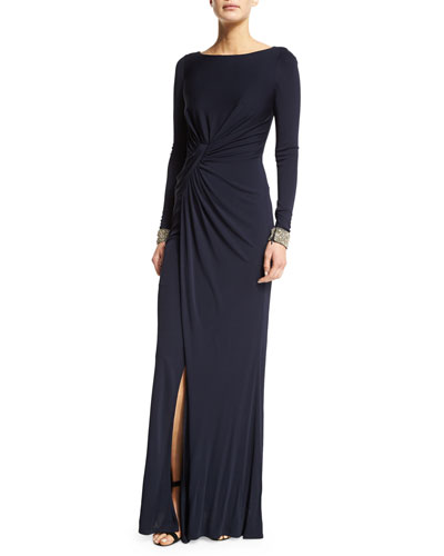 Embellished-Cuff Ruched Gown, Navy