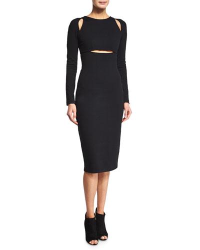 Ponte Cutout Sheath Dress, Black