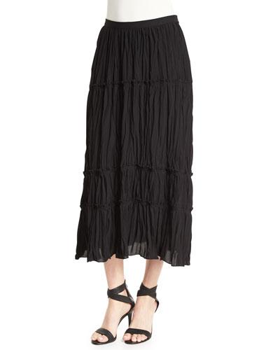 Crue Tiered Midi Skirt, Black