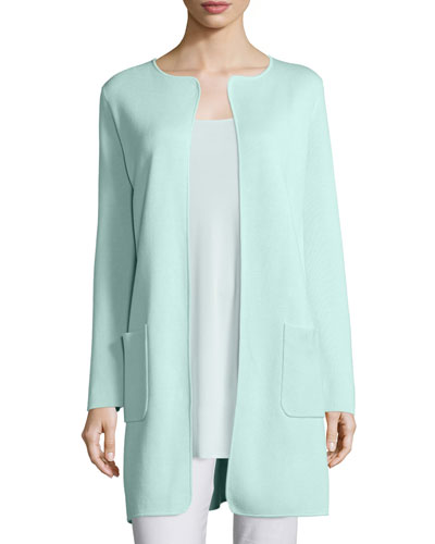 Silk Cotton Interlock Long Jacket, Green Mint
