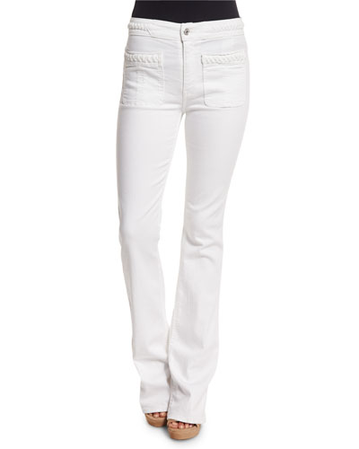Braided Flare-Leg Jeans, White