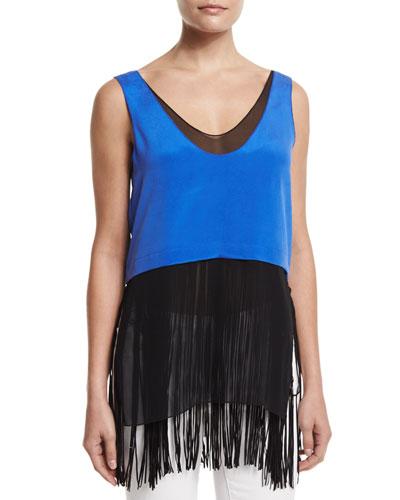 Sleeveless Layered Silk Fringe Top, Cobalt
