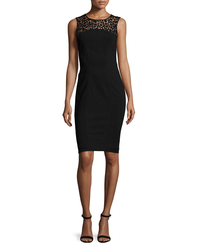 Sleeveless Laser-Cut Cocktail Sheath Dress, Black