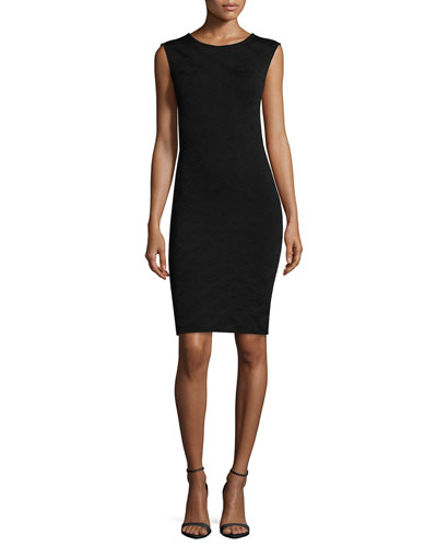 Sleeveless Body-Conscious Sheath Dress, Black