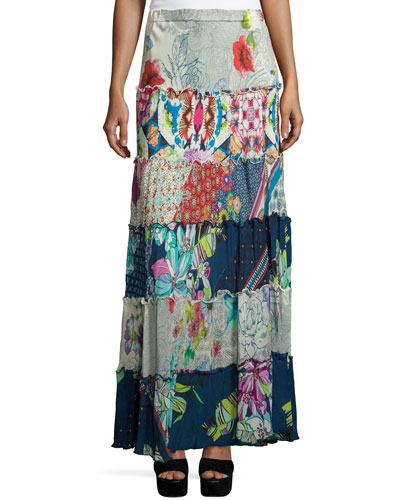 Cherrie Printed Tiered Maxi Skirt, Plus Size