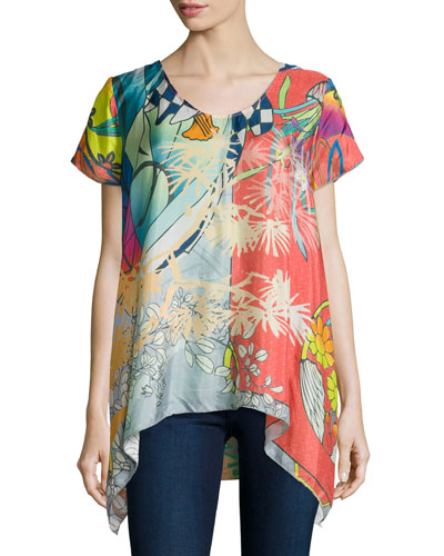 Elly Short-Sleeve Silk Printed Tunic, Plus Size