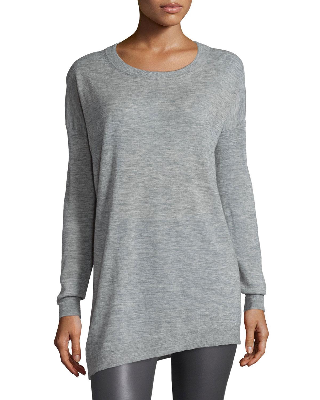 Asymmetric Cashmere Tunic Sweater, Gray