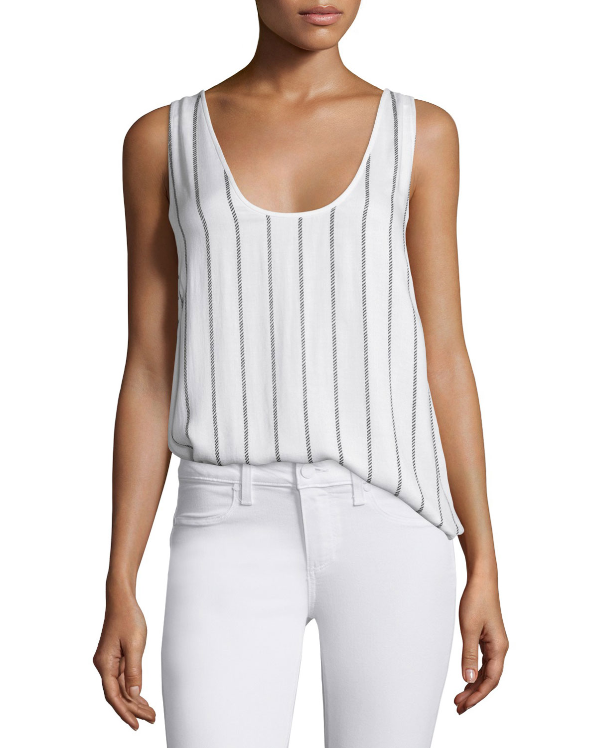 Wilfred Scoop-Neck Striped Tank, White/Black