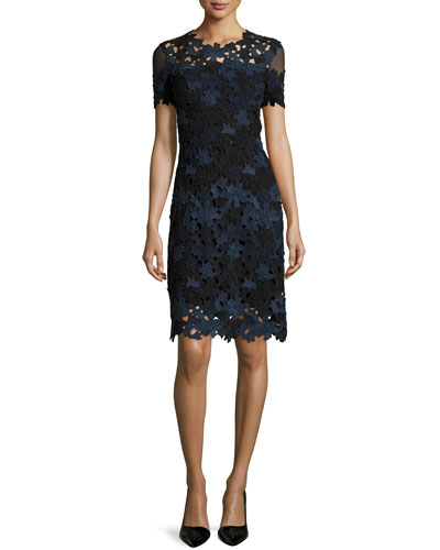 Ophelia Short-Sleeve Lace Sheath Dress