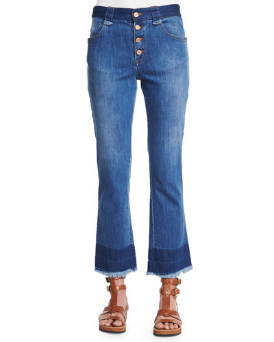 Front-Button Cropped Flare Jeans, Washed Indigo