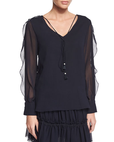 Sheer-Sleeve V-Neck Georgette Blouse, Dark Navy