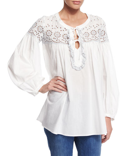 Long-Sleeve Eyelet Tie-Front Blouse, White