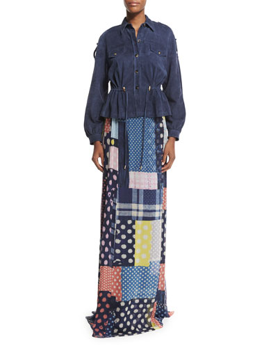 Bethune Patched Dots Silk Maxi Skirt