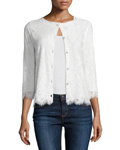3/4-Sleeve Lace Cardigan, Ivory, Petite