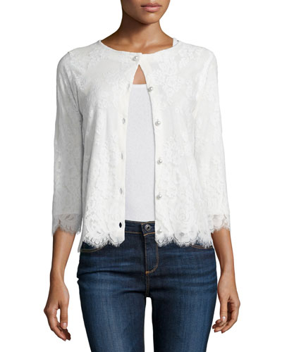 3/4-Sleeve Lace Cardigan, Ivory