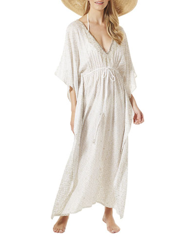 Paramount Drawstring-Waist Long Caftan Coverup, White