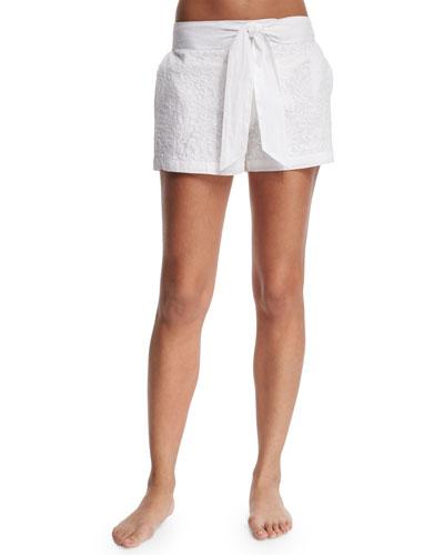 Aquila Embroidered Shorts W/Waist Tie, White